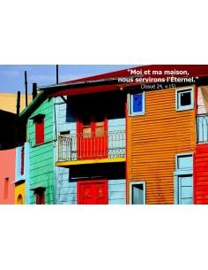 Carte postale - maison colorée